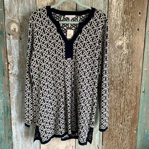 Foxcroft Patterned Tunic Blouse Navy XL